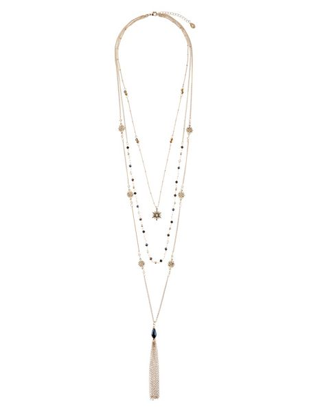 Accessorize Star Layered Tassel Necklace