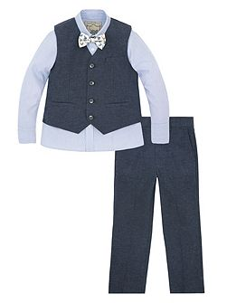 Boys Lachlan Mix 4 Piece Suit Linen Set