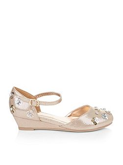 Girls 2-Part Sequin Flower Wedge