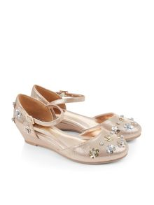Monsoon Girls 2-Part Sequin Flower Wedge