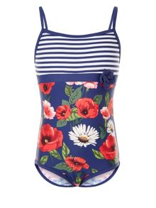 Monsoon Girls Scarlett Stripe Swimsuit