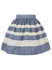 Monsoon Girls Missumi Chambray Lace Skirt