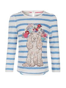 Monsoon Girls Teddy Dog Stripe Top