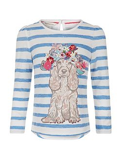 Girls Teddy Dog Stripe Top