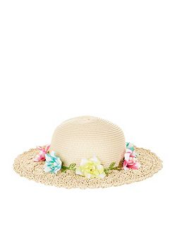 Girls Tropical Flower Garland Floppy Hat