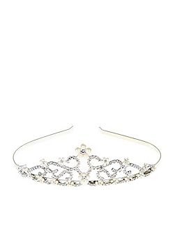 Girls Swirly Flower Pearl Tiara