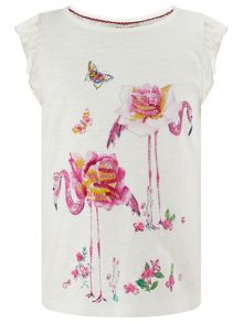 Monsoon Girls Flower Flamingo Tee