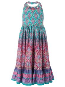 Monsoon Girls Maida Print Halterneck Dress