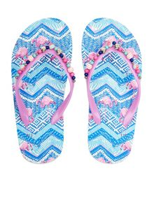 Monsoon Girls Tribal Flamingo Beaded Flip Flop