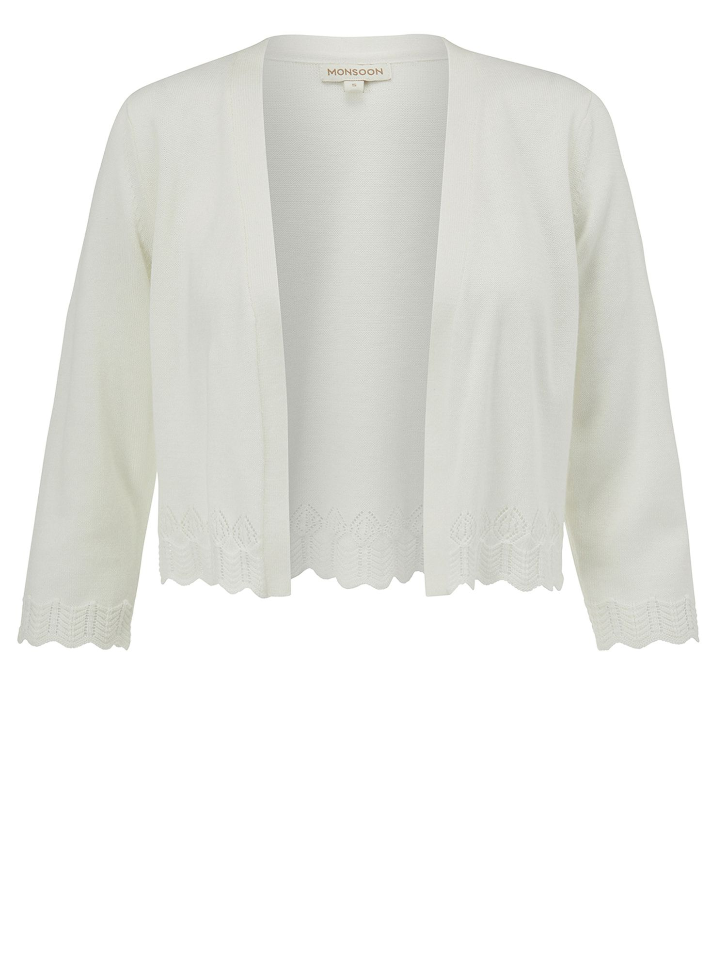Monsoon Paige Pointelle Hem Shrug White