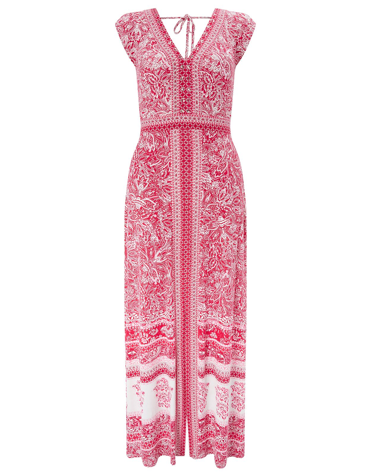 Monsoon Coco Print Jersey Maxi Dress, Red