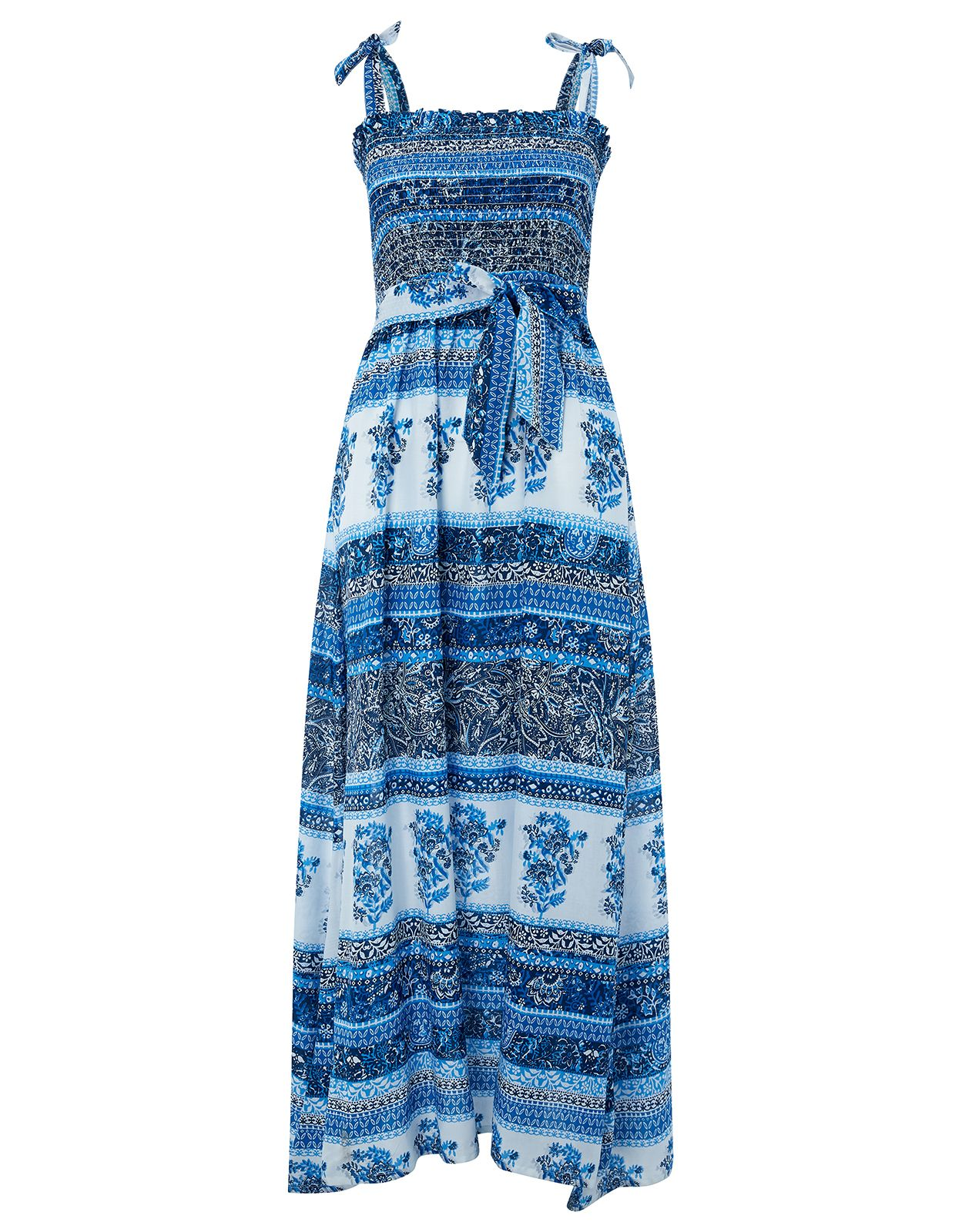 Monsoon Mia Print Pack Bandeau Maxi Dress, Blue