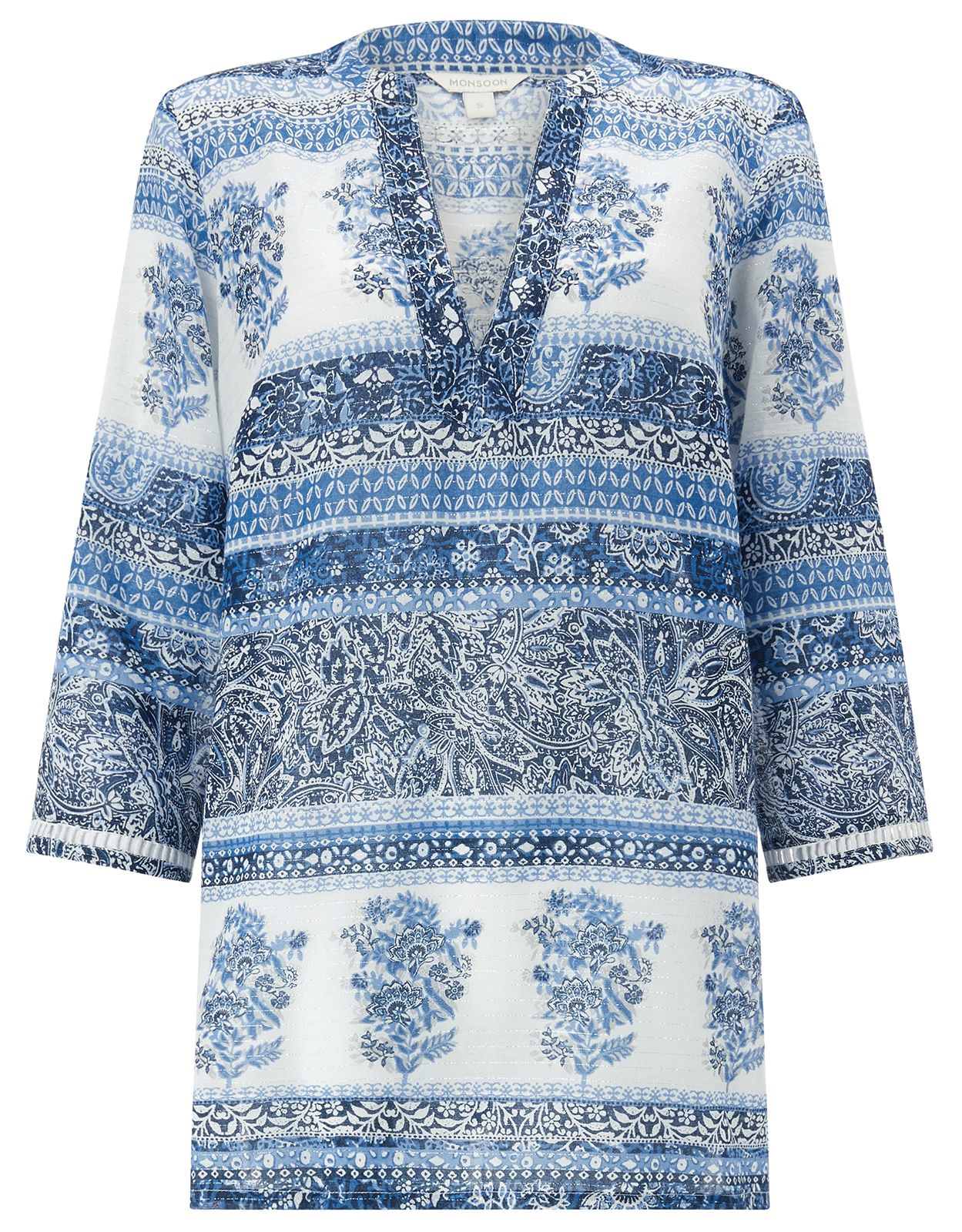 Monsoon Mia Printed Kaftan, Blue