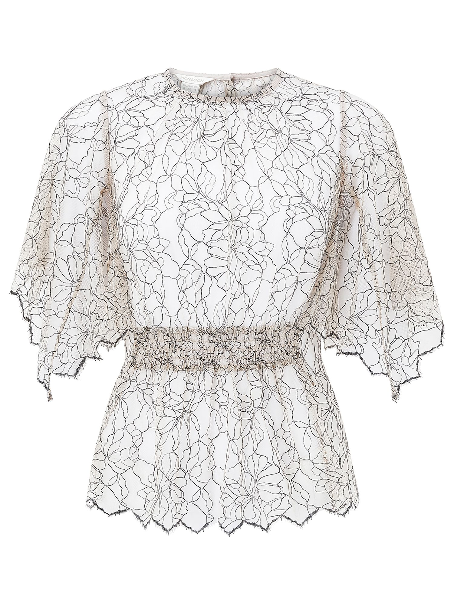 Monsoon Sharma Lace Top, Nude