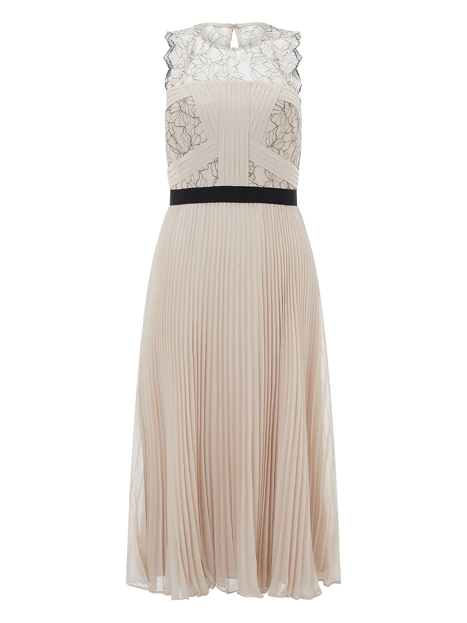 Monsoon Sharma Lace Midi Dress, Nude