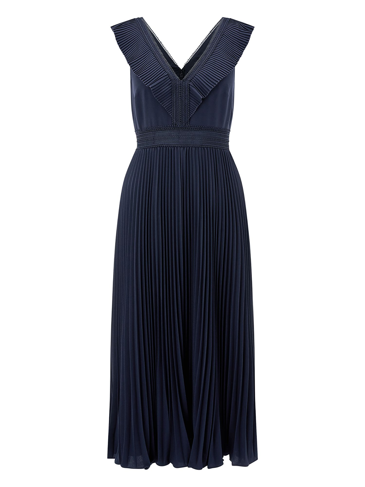 Monsoon Sammy Pleated Midi Dress, Blue