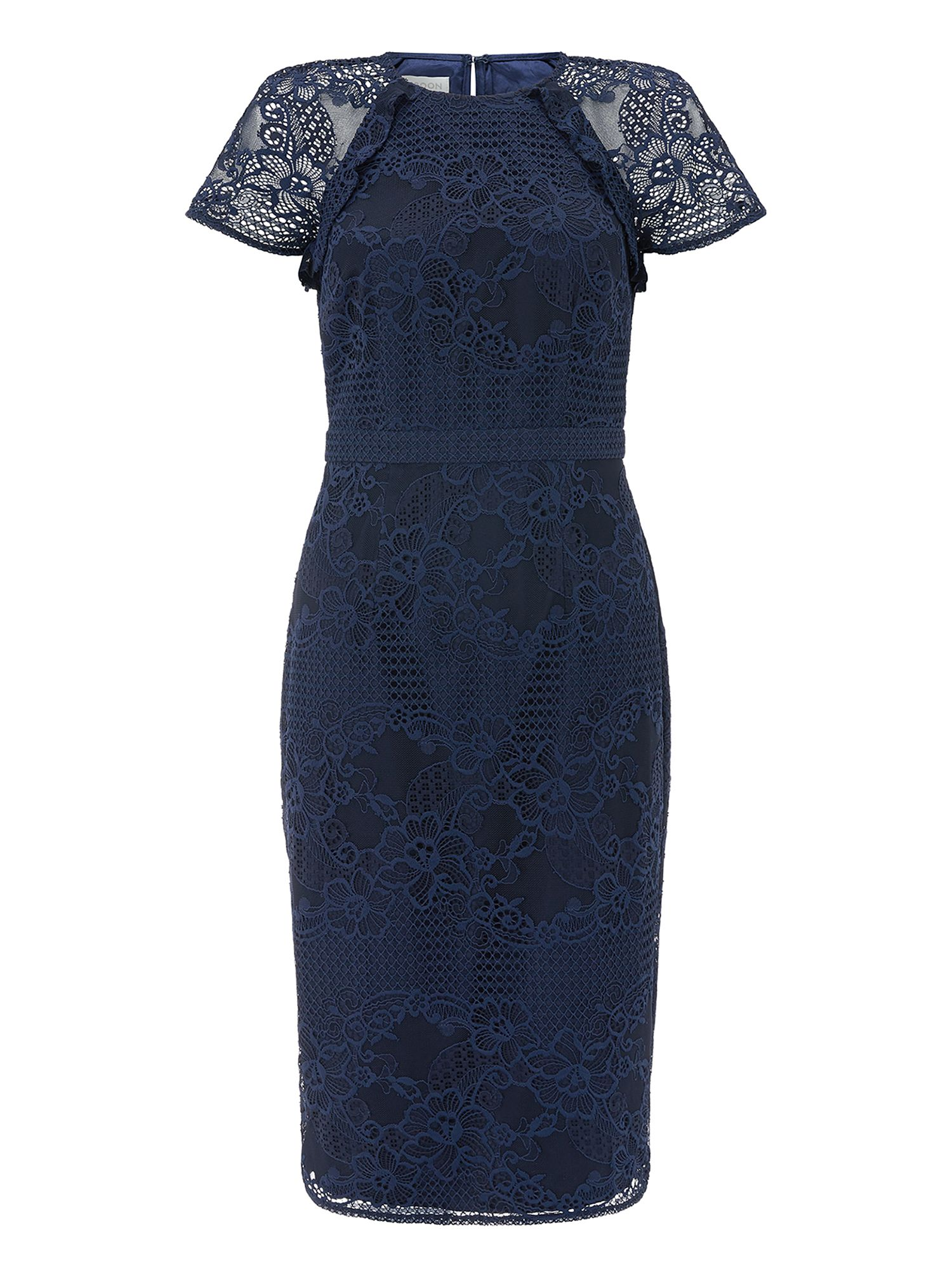 Monsoon Lucy Lace KL Dress, Blue