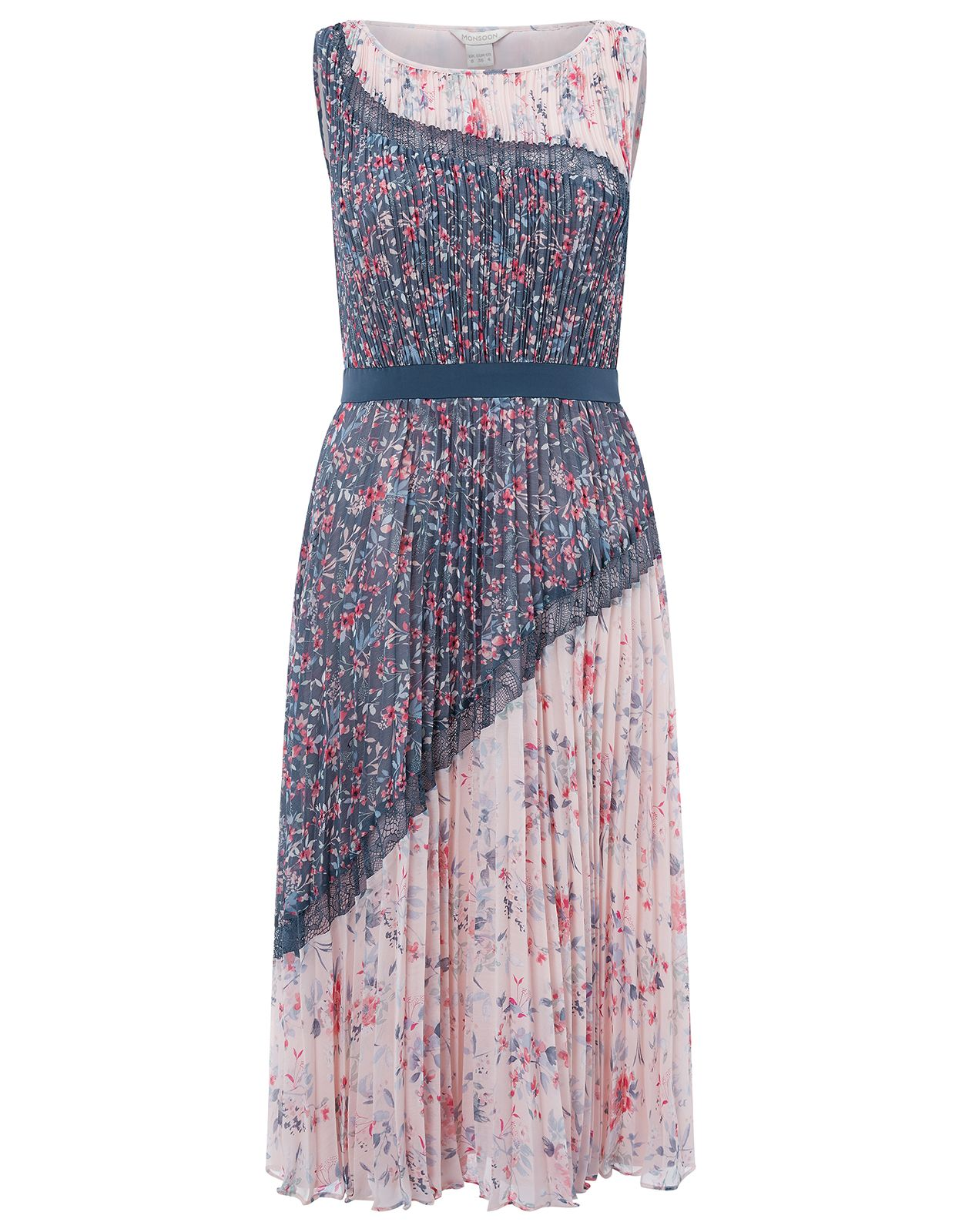 Monsoon Blossom Print Pleated Midi Dress, Multi-Coloured