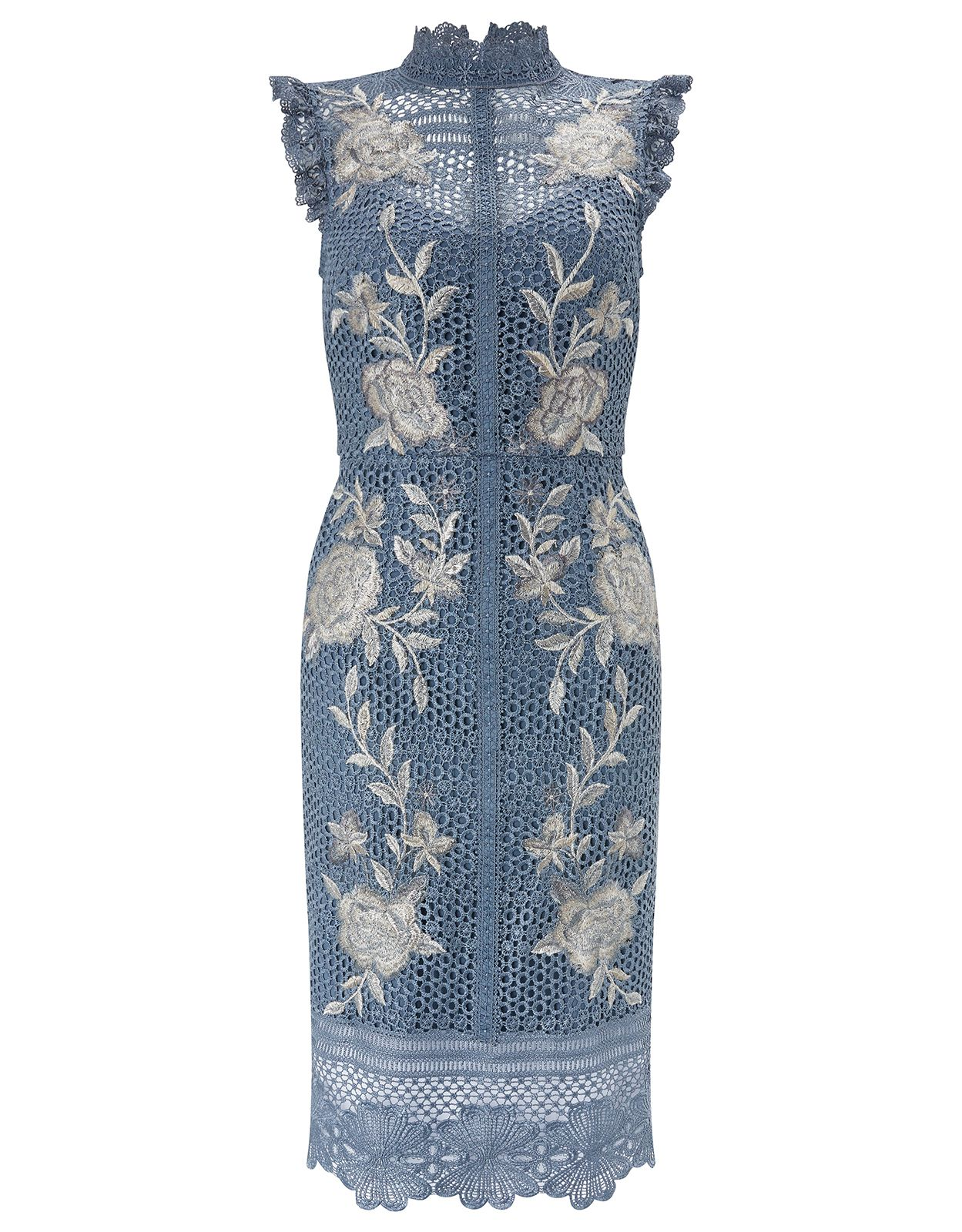 Monsoon Karina Embroidered Dress, Blue