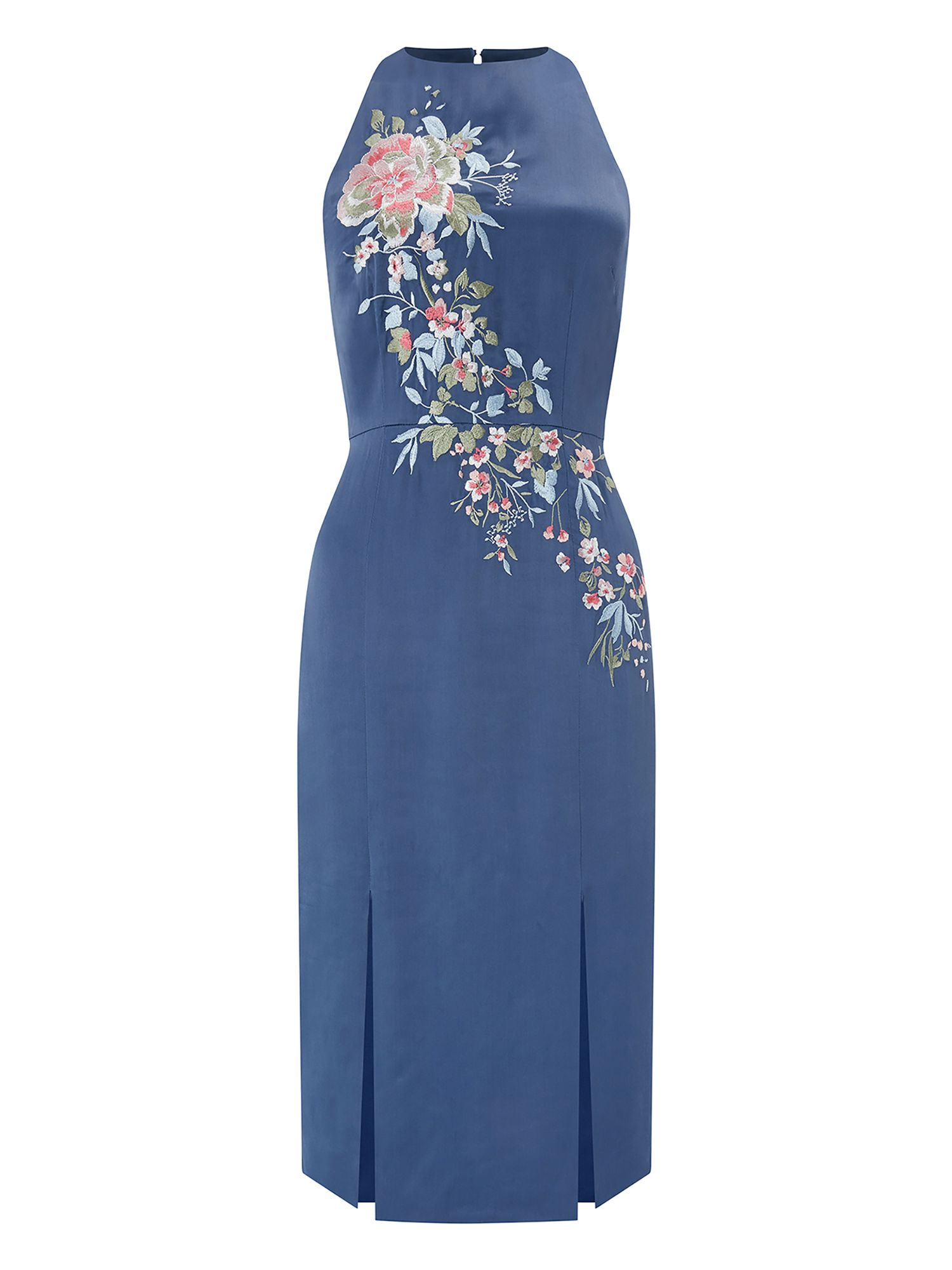 Monsoon Polymina Emb Midi Dress, Blue