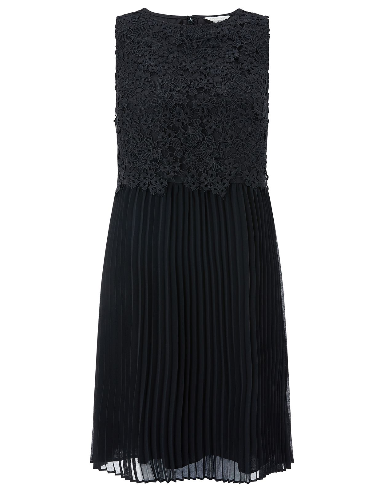Monsoon Piper Pleat Lace Dress, Black
