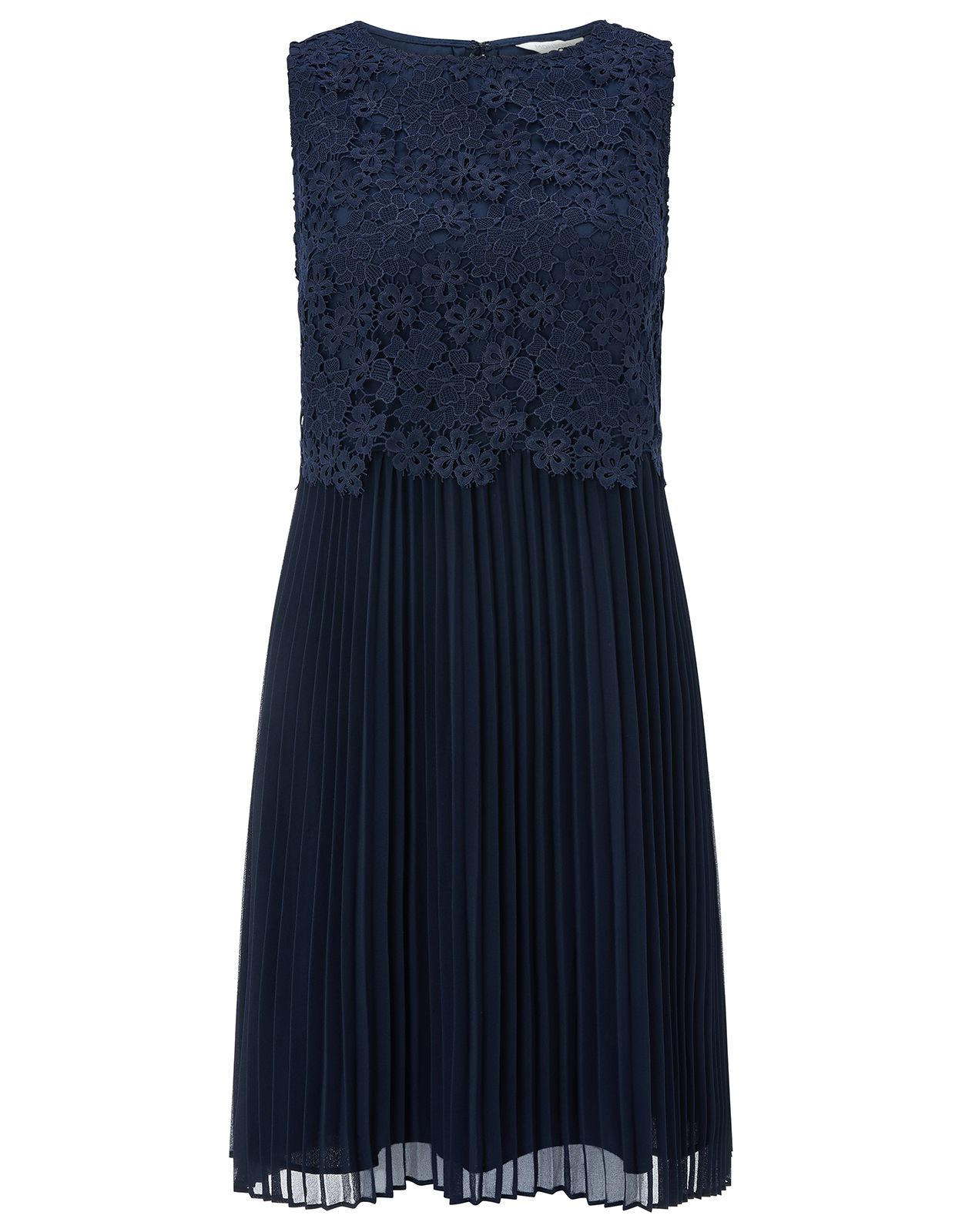 Monsoon Piper Pleat Lace Dress, Blue