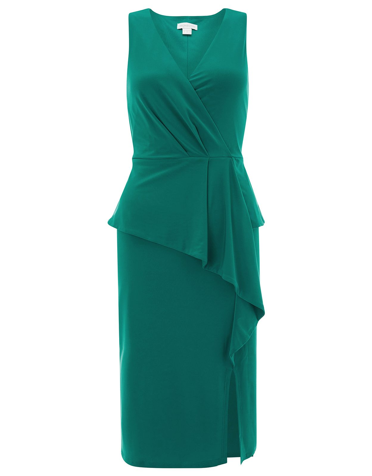 Monsoon Sheila Frill Jersey Dress, Green