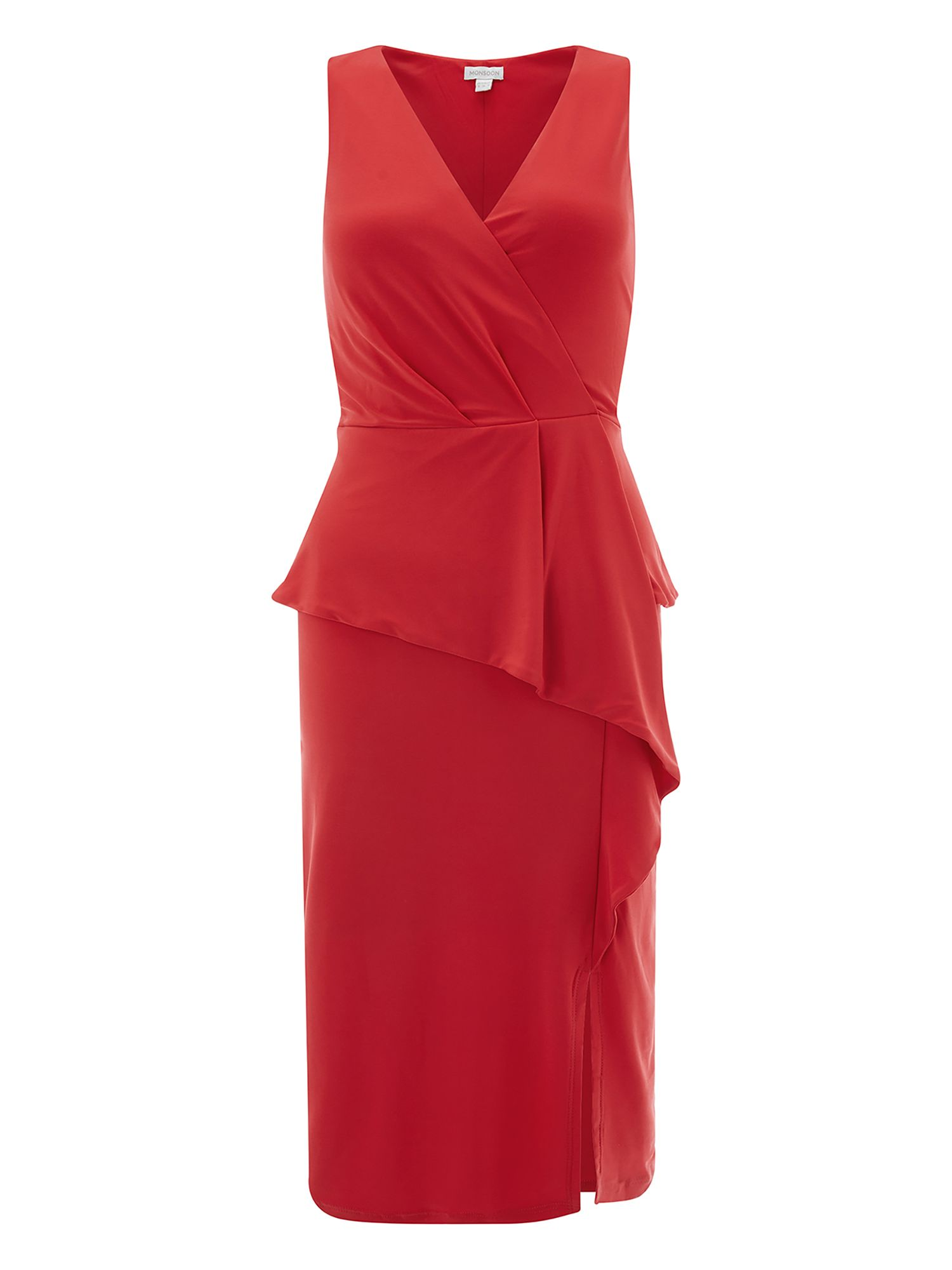 Monsoon Sheila Frill Jersey Dress, Red
