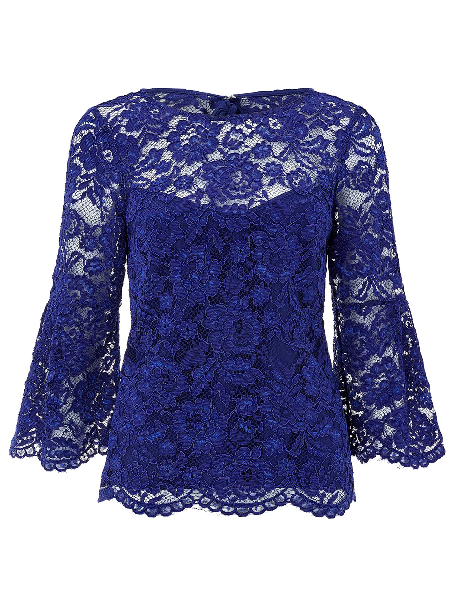 Monsoon Lana Lace Top, Cobalt