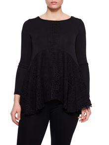 Elvi Black Lace A Line Top