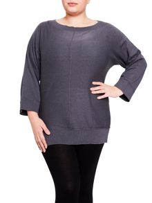 Elvi Grey Boat Neck Jumper