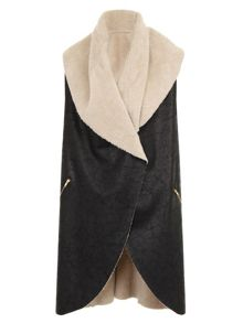 Elvi Faux Leather Shearling Gilet