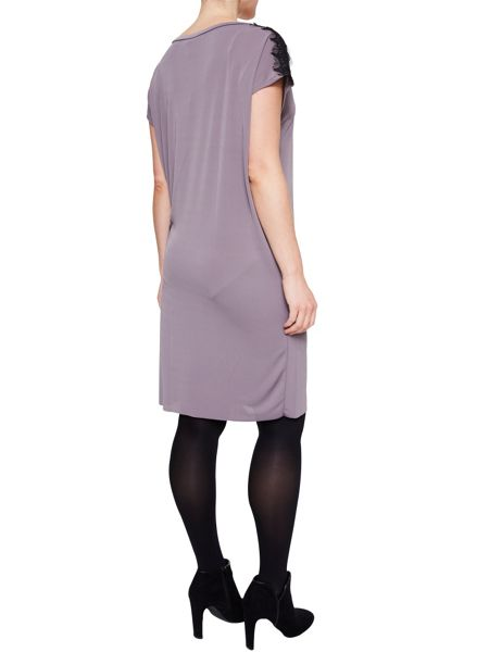 Elvi Grey Rouged Lace Dress