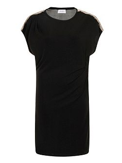 Black Rouged Lace Dress