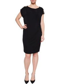 Elvi Black Rouged Lace Dress