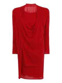 Elvi Scarlett Knitted Drape Dress