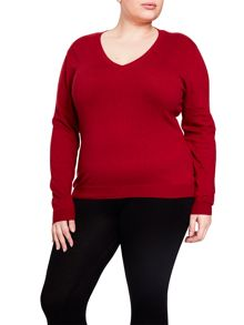 Elvi Red V-Neck Jumper
