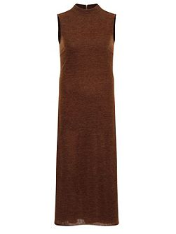 Brown Knitted Turtle Neck Dress
