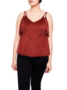 Elvi Orange Brick Fringed Cami