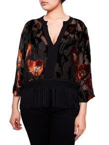 Elvi Black & Orange Velvet Tasel Top