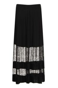 Elvi Black Lace Maxi Pleated Skirt