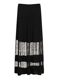 Black Lace Maxi Pleated Skirt