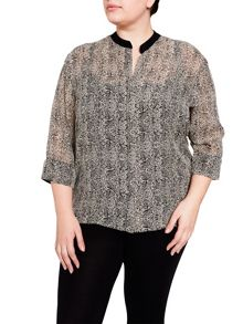 Elvi Black & Cream Geometric Blouse