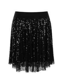 Elvi Black Sequin Gathered Skirt