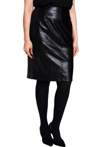 Elvi Black Faux Leather Skirt