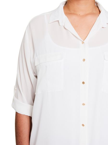 Elvi White Double Pocket Shirt