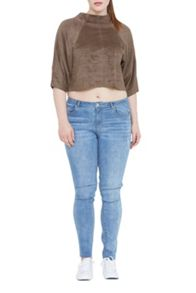 Elvi Suedette High Neck Top