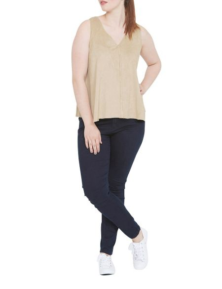 Elvi Cream Suedette Top