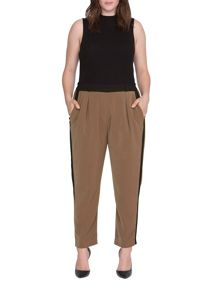 Elvi Plus Size Camel Contrast Relaxed Trs