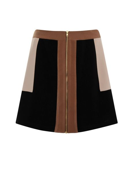 Elvi Plus Size Beige & Black Block Skirt